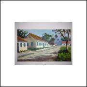 Casarios Beira Rio - Pintura Acrílico Sobre Tela - Medidas 50 Cm x 30