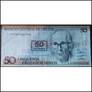 Cédula 50 Cruzados Novos - Carimbo 50 Cruzeiros